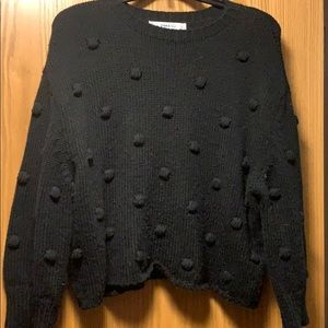 ZARA Pom Pom/Raised Dot Cropped Sweater